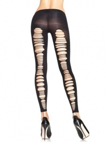 7331BOS SPANDEX SHREDDED BACK OPAQUE FOOTLESS TIGHTS O/S BLACK
