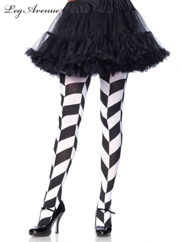 7950BWOS CHEVRON ILLUSION OPAQUE TIGHTS BLACK/WHITE
