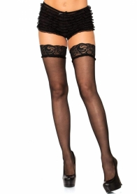 1946OS LACE TOP SHEER THIGH HIGHS WITH MINI BOW KEYHOLE ACCENT. O/S