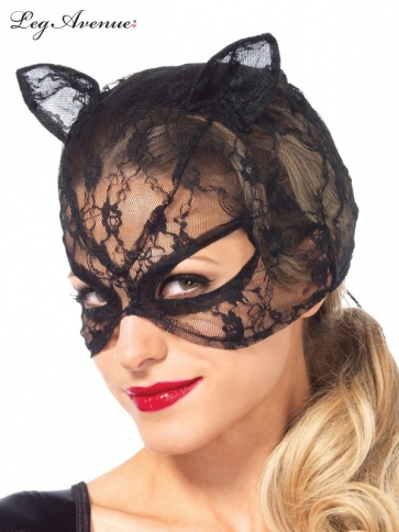3746 LACE CAT MASK WITH LACE UP BACK