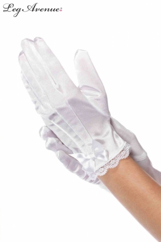 LACE TRIMMED SATIN GLOVES CHILD