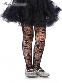 4915BS SKULL STRIPED NET PANTYHOSE SMALL BLACK