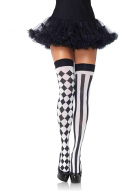6120BWOS HARLEQUIN THIGH HIGHS O/S BLACK/WHITE