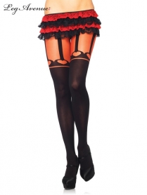 7287 OPAQUE PANTYHOSE WITH FAUX HEART GARTER BELT BLACK/RED
