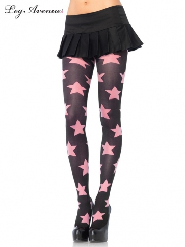 7899BPOS OPAQUE TIGHTS WITH CONTRAST STAR DETAIL O/S BLACK/PINK