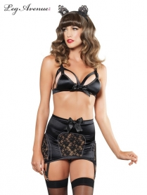 CAGE STRAP BRA TOP AND GARTER SKIRT SET