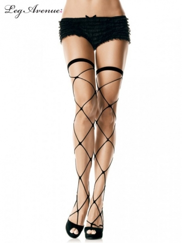 9303BOS JUMBO NET THIGH HIGHS O/S BLACK
