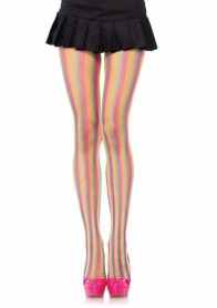 9970 NEON RAINBOW STRIPPED FISHNET PANTYHOSE