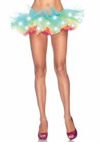 A1840MOS LED LIGHT UP RAINBOW NEON TUTU O/S MULTICOLOUR