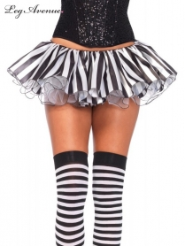A2738BWOS STRIPED SATIN AND CHIFFON TUTU O/S BLACK/WHITE