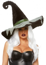 A2873 HOCUS POCUS VELVET RUCHED WITCH HAT WITH GAUZE ACCENT
