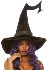 A2874 BEWITCHED VELVET WITCH HAT WITH GLITTER TRIM
