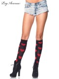 5602 LOVE SICK HEART KNEE HIGHS BLACK/RED