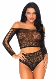 86793 2 PC LACE LONG SLEEVED CROP TOP AND HIGH WAIST THONG BOTTOMS