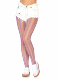 COLOURED LUREX SHIMMER RAINBOW STRIPED FISHNET TIGHTS