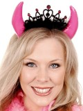 N31283 Devil Horn headband Crown & Feathers Hot Pink MIN 3