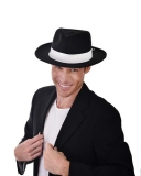 ND1197 Gangster Hat Deluxe Black with Elastic Inner