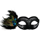 ND4075 ADRIANNA Black & Silver Peacock Feather Eye Mask