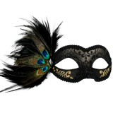 ND4076 ADRIANNA Black & Gold Peacock Feather Eye Mask