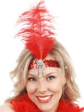 NF1031R Clara Belle Red Seq. H/Band W/Feather