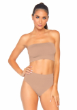 2 PC SEAMLESS OPAQUE MICROFIBER RIBBED BANDEAU TOP & HIGH WAIST BRIEF