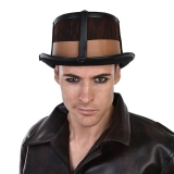 NL1598 Leather Look Steampunk Top Hat Brown