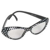 NL7326B 60's Glasses Black with white spots