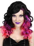 NW6081 Jezebel Long Black with Pink & Purple Wig
