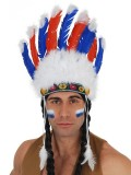 NY1105 Indian Headpiece Blue & Red Feathers with White Tips