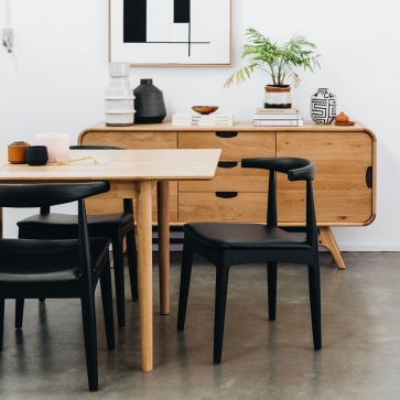 HZCELB Elbow Chair Black Oak Black PU Seat
