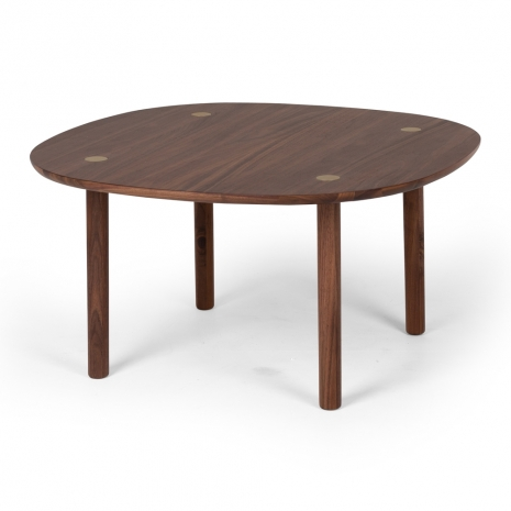 SHBWCOF Brass Walnut Rd Coffee Table