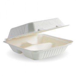 OB1087 Lunch Box 3 Comp 7.8x8x3 BioPak Compostable HL83