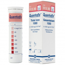 Quantofix Test Strips, 6 x 95mm, Total Iron 0-5-20-50-100-250- 500-1000mg/L