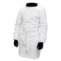 Lab Coat, Tie-Back, Polycotton - White