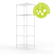 White Powder Coated Wire Shelving 455 x 610 (5 Shelves)