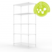 White Powder Coated Wire Shelving 455 x 910 (5 Shelves)