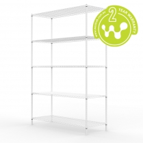White Powder Coated Wire Shelving 455 x 1220 (5 Shelves)