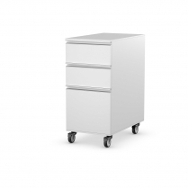 Single 3 Drawer Module Polar White Castor Set