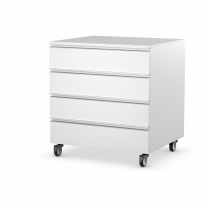 Double 4 Drawer Module Polar White Castor Set