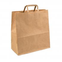 Large Flat Handle Paper Carry Bag Brown