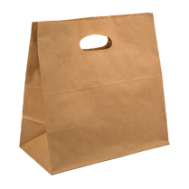 Small D Handle Paper Carry Bag Brown