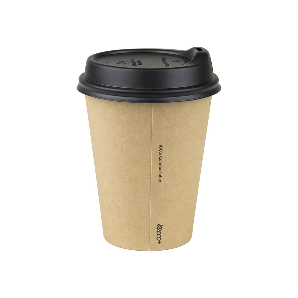 12oz/365mL Regular Compostable Coffee Cup Brown Raw