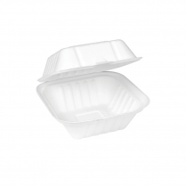 """6x6x3"""" Compostable Burger Clamshell Bagasse"""