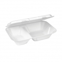 """9x6"""" Compostable 2 Compartment Snack Clamshell Bagasse"""