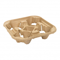 4 Cup Compostable Drink Tray