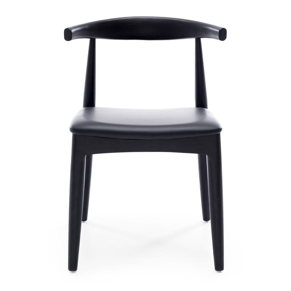 Elbow Chair Black Oak Black PU Seat