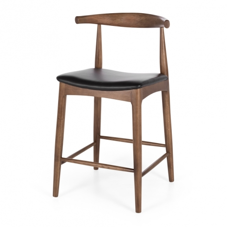 Elbow Barstool Deep Oak Black PU Seat