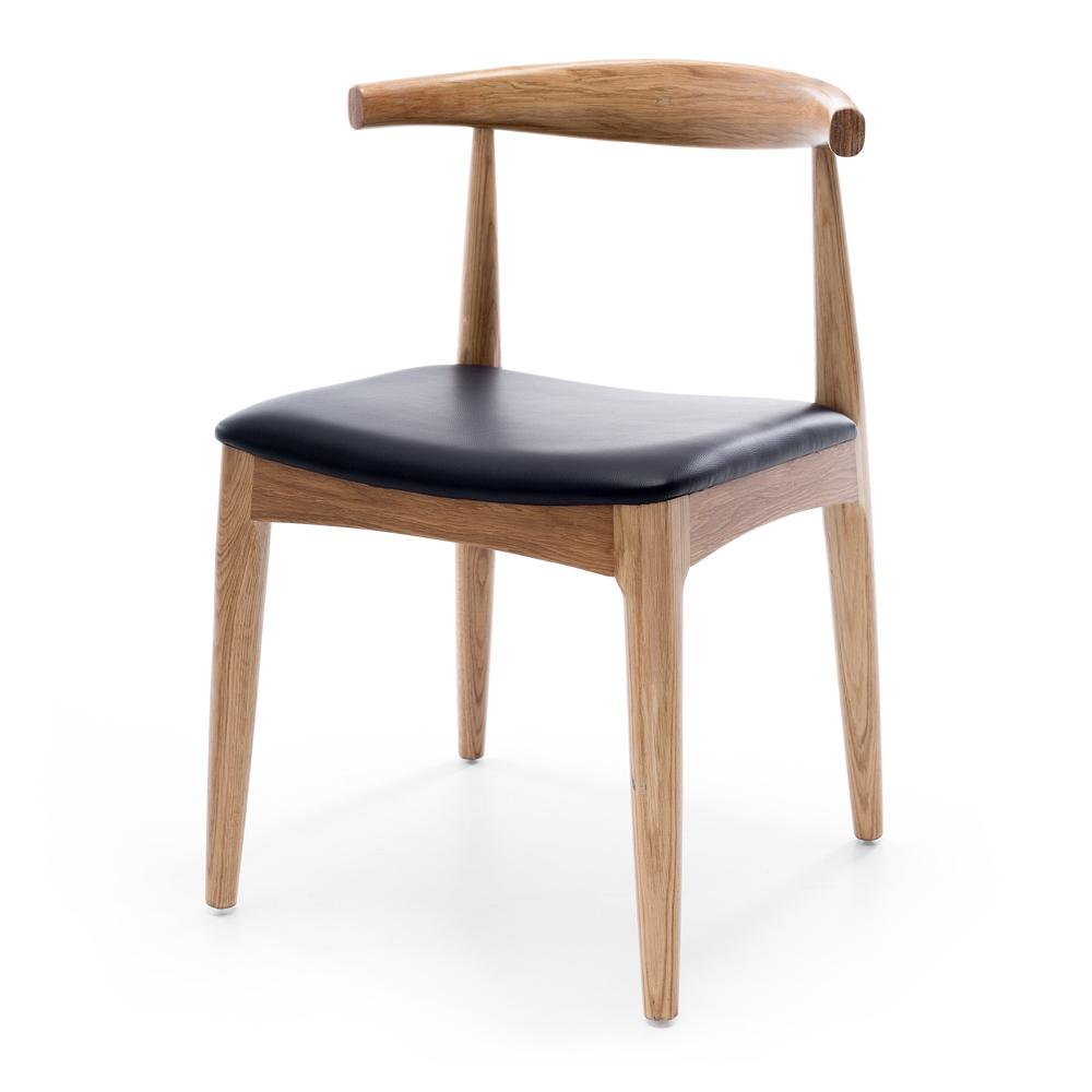 Elbow Chair Natural Oak Black PU Seat